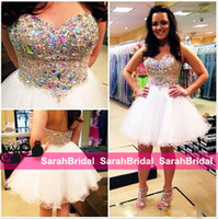 Short Sexy White Rhinestone Beads Homecoming Dresses for 201...