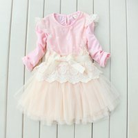 baby girl kids long sleeve outfits lace dress flower floral ...