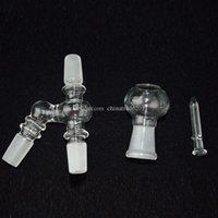 18.8mm Adaptateurs avec dôme en verre et les plates-formes d'huile d'ongle Joint mâle 2 accessoires de bong de verre de taille 2015 Recycler Pièces de narguilés Accessoires de fumée