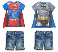 Children outfits Superman 2 pcs sets 2015 Summer Boys Superm...