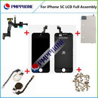 Expédition rapide couleur noire pour Iphone 5C LCD Display + Digitizer écran tactile et bouton Home + caméra frontale
