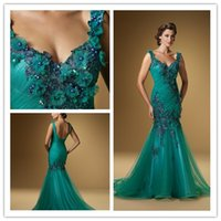 Best Selling Luxury Applique Beadings Emerald Green Vestidos...