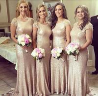 2015 Champagne Lace Sequins Bridesmaid Dresses With Short La...