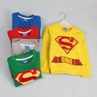 Children Superman Outerwear 2015 new cartoon Long sleeve rou...