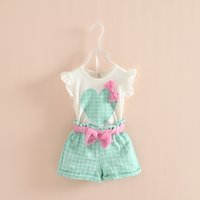 2015 girl summer suit fly sleeve heart tops + 3D Bow Grid sho...