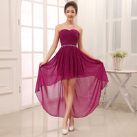 New Chiffon High Low Sweetheart Beaded Bridesmaid Dress 2015...