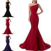 2016 Dark Red Black Purple Mermaid Taffeta Evening Dresses O...