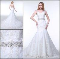 2016 Свадебные платья Real-Image Плюс Размер Свадебные Свадебные платья Спагетти кружевные платья Русалка Новые платья Для женщин