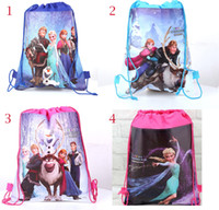 Retail New Frozen 4 styles drawstring bags Anna Elsa backpac...