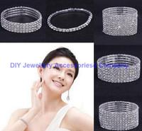 10PCS un deux ~ tenRows bijoux bracelet strass Autriche CZ Bracelets Cristal jeune mariée extensible Bangle Bracelet