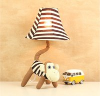 Cartoon mouth monkey fabric lamps, children' s room bedr...
