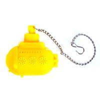 Личность Силиконовая подводная лодка в форме нательного листа Листовый фильтр для листьев Травяной фильтр для специй Диффузор Кофе Чай Инструменты Желтый