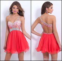 2015 Cheap Crystal Homecoming Dresses One Shoulder Chiffon B...