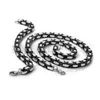Teboer Bijoux Chaîne Byzantine 8mm Bracelet Collier Noir Argent SSJ84
