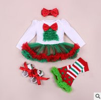 4- piece girls rompers dress set Christmas Romper dress + baby...