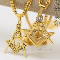 14k Gold plated BLING FREE MASON PENDANT 70cm Long chain Hig...