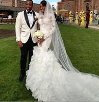 Afican Свадебные платья с длинными рукавами кружево Иллюзия декольте Русалка Форма Свадебные платья Свадебные платья Ruffles Ruched Аппликация Вышитый бисером 2015