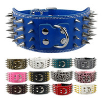 (7 colours) New arrive Pitbull Spiked Leather Dog Collars 4 ...