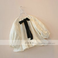 Korean Style Spring Big Bowknot Girls T- shirts Bubble Sleeve...