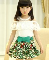 For Big Children Girls Clothes 2015 Summer Girl Floral Lace ...