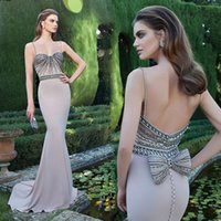 Tarik Ediz Crystal Mermaid Evening Dresses Open Back Party D...
