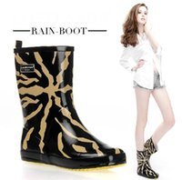 2014 100% Cotton lining Leopard Rain Boots women' s shoe...