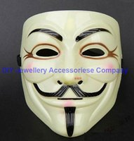 10pcs 20 * 16cm V Masque Halloween masques mascarade Vendetta Anonyme Valentine boule de partie musache masque facial de Super Effrayant Guy Fawkes