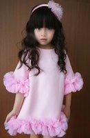 40 Flowers Short Sleeve Solid Pink Princess Kid Girls' ...