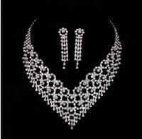 Handmade Bridal Jewelry Rhinestone Bridal necklaces earrings...