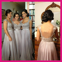 Silver Bridesmaid Dresses Sexy Design Backless Cap Sleeve Ch...