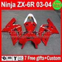 7gifts For KAWASAKI NINJA ZX6R 03- 04 Factory red ZX- 6R ZX636...