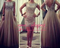 2015 Sparkly Crystal Beads Prom Dress With Detachable Skirt ...