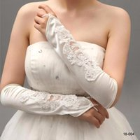 Lowest Price New Pearls Beaded Lace Bridal Gloves Women Fing...