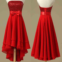 New red fashion sweetheart lace sequined chiffon prom evenin...