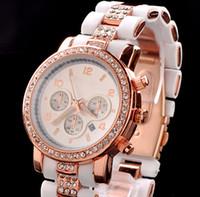 Retail Fashion Luxury Gold Crystal Calendar Diamond watch Qu...