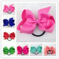 4inch high quality ribbon hair bow with elastic band for hai...