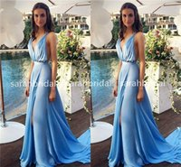 2015 Simple Sexy Wedding Evening Dresses with V- Neck Split S...