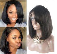 Краткое шнурка человеческих волос парики яки прямой боб ü часть парик для черных женщин кружево фронт парик 100% девственных человеческого волоса заполненный продажи