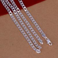 925 silver 4MM Curb Chains Collier, chaînes en argent Bijoux, Livraison gratuite Qualité supérieure, 4M 16-30 '' / 20 pcs, bijoux en gros de mode pour hommes