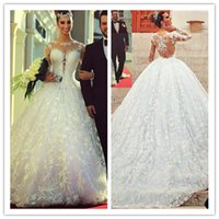 Noble Lace Long Sleeve Wedding Dresses 2015 Vestidos De Noiv...
