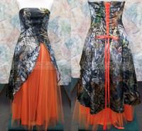 Заказные Плюс Размер Camo Свадебные платья 2015 Vestidos de Novia Онлайн без бретелек Оранжевый Тюль длиной до пола, Корсет Назад Свадебные платья