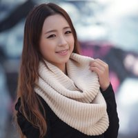 Unisex Women Winter Warm Infinity 2 Circle Cable Knit Cowl N...