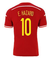 2015- 16 Belgium #10 E. Harzard Home Soccer Jerseys, red Sports...