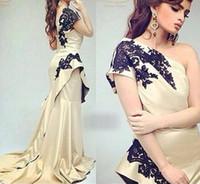 Арабский платье для формальных событий одно плечо тафта шампанского Черный аппликаций молния назад Длинные Пром вечерние платья платье Пакистан