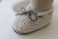 Crochet baby boy shoes infant booties 0- 12M cotton lace up 1...