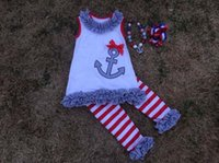 Europe and America Girls outfits sets Bow T Shirt+ striped Le...