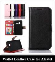 El negocio de la PU de la Cartera de Cuero Plegable Flip Teléfono Celular de Cubierta de la caja del Marco de la Foto de ID de la Tarjeta de Ranuras para Alcatel One Touch POP C5/C7/C3/Idol mini