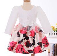 2015 Autumn Girls Long Sleeve Dresse Lace Flower Rose Print ...