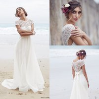 Short Sleeves Lace Anna Campbell Wedding Dresses 2016 Spring...