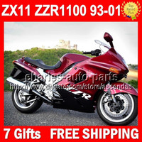 93- 01 For KAWASAKI Factory red black NINJA ZX11 ZZR1100 ZX- 1...